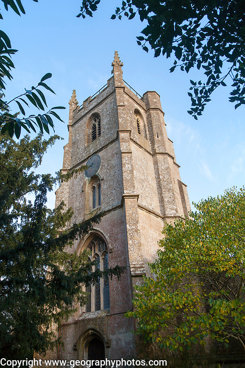 St Peter parish church tower against blue sky Clyffe Pypard, Wiltshire, England, UK