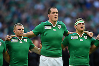 Ireland players sing Ireland's Call during the national anthems. Rugby World Cup Pool D match between Ireland and Romania on September 27, 2015 at Wembley Stadium in London, England. Photo by: Patrick Khachfe / Onside Images