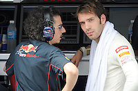 Toro Rosso French driver Jean Eric Vergne  on pitwall with chief Engineer Laurent Mekies.24/03/2012 Grand Prix Malesia, Sepang , Essais..Foto Insidefoto  /Bernard Asset / Panoramic.ITALY ONLY..