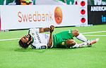 Stockholm 2014-07-28 Fotboll Superettan Hammarby IF - Assyriska FF :  <br /> Hammarbys Stefan Batan grimaserar efter en n&auml;rkamp och h&aring;ller sig f&ouml;r handen<br /> (Foto: Kenta J&ouml;nsson) Nyckelord:  Superettan Tele2 Arena Hammarby HIF Bajen Assyriska AFF depp besviken besvikelse sorg ledsen deppig nedst&auml;md uppgiven sad disappointment disappointed dejected skada skadan ont sm&auml;rta injury pain
