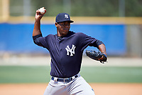 New York Yankees pitcher Jorge Guzman (16) during a minor league Spring Training game against the Toronto Blue Jays on March 30, 2017 at the Englebert Complex in Dunedin, Florida.  (Mike Janes/Four Seam Images)