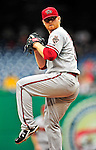 15 August 2010: Arizona Diamondbacks starting pitcher Barry Enright on the mound against the Washington Nationals at Nationals Park in Washington, DC. The Nationals defeated the Diamondbacks 5-3 to take the rubber match of their 3-game series. Mandatory Credit: Ed Wolfstein Photo