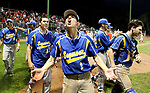 MIDDLETOWN CT. 09 June 2018-060918SV18- #1 Ethan Szerszen of Seymour celebrates as Seymour High players celebrate after beating Wolcott High 13-2 in the CIAC Class M baseball championship in Middletown Saturday. <br /> Steven Valenti Republican-American