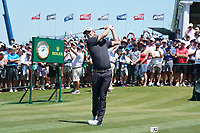 Justin Rose (ENG) tees off the first hole during his final round of the 118th U.S. Open Championship at Shinnecock Hills Golf Club in Southampton, NY, USA. 17th June 2018.<br /> Picture: Golffile | Brian Spurlock<br /> <br /> <br /> All photo usage must carry mandatory copyright credit (&copy; Golffile | Brian Spurlock)