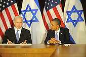 Prime Minister Benjamin Netanyahu of Israel, left, makes a statement to the pool prior to meeting United States President Barack Obama, right, Wednesday, Sept. 21, 2011 at United Nations Headquarters in New York, New York..Credit: Aaron Showalter / Pool via CNP