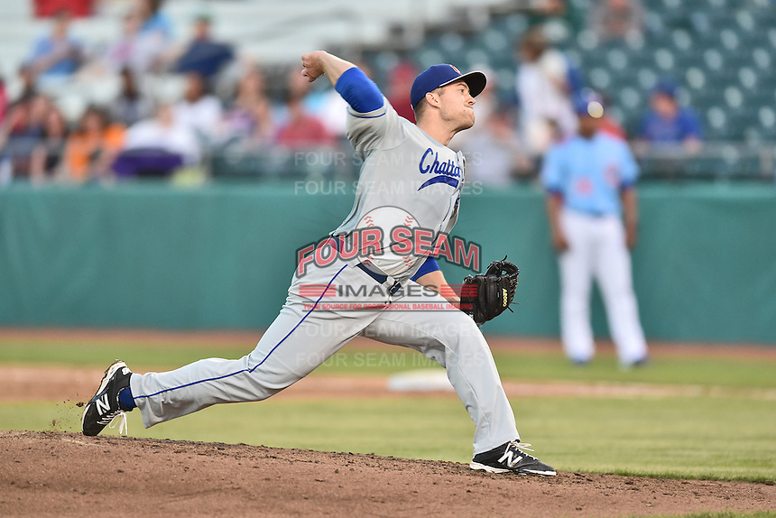 Chattanooga Lookouts starting pitcher Alex Wimmers (21) delivers a pitch during a game against the Tennessee Smokies on April 25, 2015 in Kodak, Tennessee. The Smokies defeated the Lookouts 16-10. (Tony Farlow/Four Seam Images)