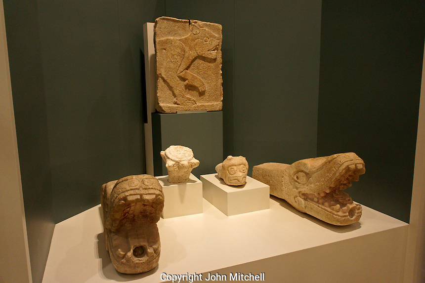 Jaguar panel and serpent heads from Chichen Itza, Museo Maya de Cancun or Cancun Mayan Mayan Museum that opened in November 2012, Cancun, Mexico      .