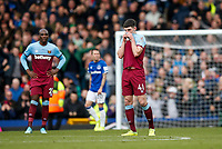 Declan Rice of West Ham United looks dejected after his side concede their second goal to make the score 2-0 during the Premier League match between Everton and West Ham United at Goodison Park on October 19th 2019 in Liverpool, England. (Photo by Daniel Chesterton/phcimages.com)<br /> Foto PHC/Insidefoto <br /> ITALY ONLY