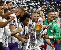 Calcio, Champions League: finale Juventus vs Real Madrid. Cardiff, Millennium Stadium, 3 giugno 2017.<br /> Real Madrid's players hold the trophy at the end of the Champions League final match between Juventus and Real Madrid at Cardiff's Millennium Stadium, Wales, June 3, 2017. Real Madrid won 4-1.<br /> UPDATE IMAGES PRESS/Isabella Bonotto