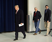 United States President Donald J. Trump, followed by US Senate Majority Leader Mitch McConnell (Republican of Kentucky) and Speaker of the US House Paul Ryan (Republican of Wisconsin) arrives to speak to the media at Camp David, the presidential retreat near Thurmont, Maryland after holding meetings with staff, members of his Cabinet and Republican members of Congress to discuss the Republican legislative agenda for 2018 on January 6, 2018.<br /> Credit: Chris Kleponis / Pool via CNP