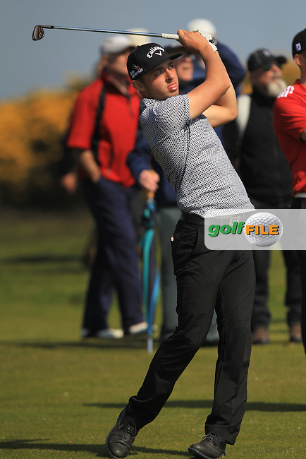 Marco Penge (ENG) on the 17th during Round 4 of the Flogas Irish Amateur Open Championship at Royal Dublin on Sunday 8th May 2016.<br /> Picture:  Thos Caffrey / www.golffile.ie