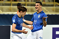 Federico Chiesa of Italy celebrates with Ricxardo Orsolini after scoring the goal of 2-1 <br /> Bologna 16-06-2019 Stadio Renato Dall'Ara <br /> Football UEFA Under 21 Championship Italy 2019<br /> Group Stage - Final Tournament Group A<br /> Italy - Spain <br /> Photo Andrea Staccioli / Insidefoto