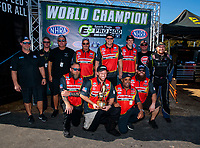 Oct 14, 2019; Concord, NC, USA; NHRA pro mod driver Steve Jackson celebrates with crew after clinching the 2019 championship during the Carolina Nationals at zMax Dragway. Mandatory Credit: Mark J. Rebilas-USA TODAY Sports