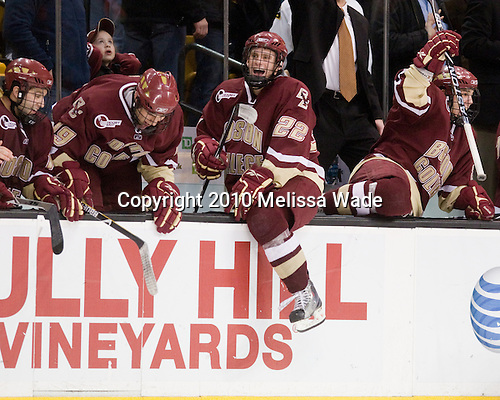 Joe Whitney (BC - 15), Chris Kreider (BC - 19), Paul Carey (BC - 22), Steven Whitney (BC - 21) - The Boston College Eagles defeated the Boston University Terriers 4-3 on Monday, February 8, 2010, at the TD Garden in Boston, Massachusetts, to take the 2010 Beanpot.