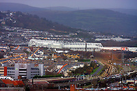 Pictured: Liberty Stadium Swansea City Football Club SCFC Hafod landore general view of Swansea as seen from the Penthouse restaurant<br />