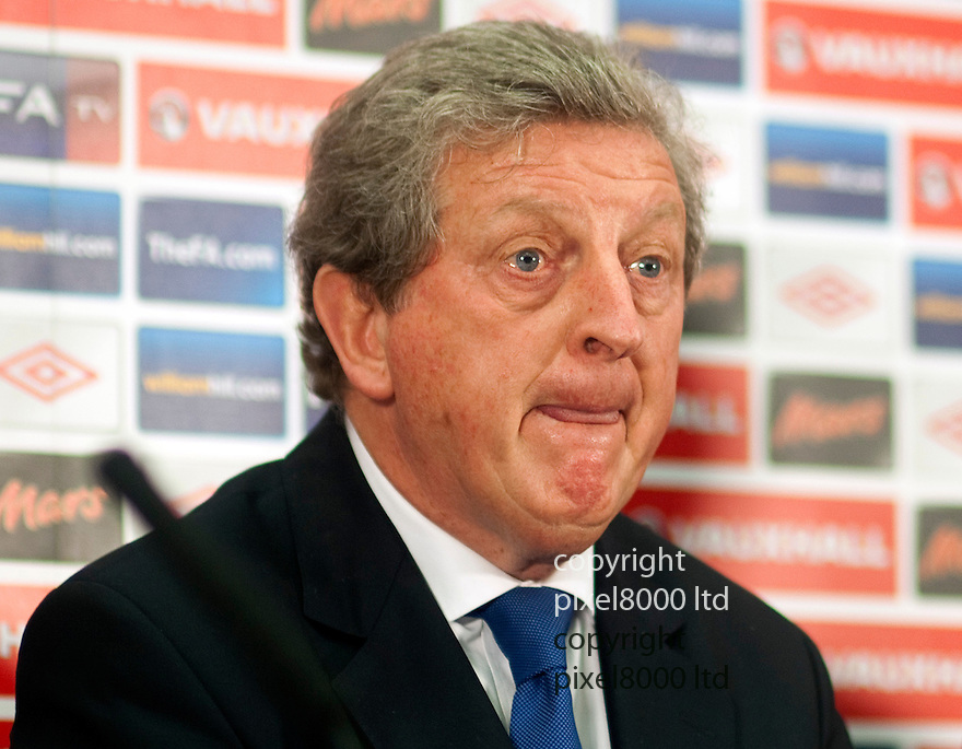England's John Terry resigns  from playing for England..England manager Roy Hodgson .with David Bernstein and Trevor Brooking....Pic by Gavin Rodgers/Pixel 8000 Ltd 1.5.12