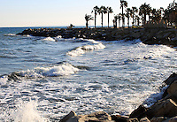 Stock image of Limassol beach sea waves rushing towards rocks at the shore with palm trees in the background.