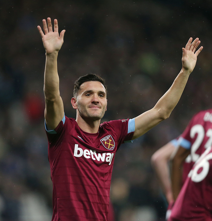 West Ham United's Lucas celebrates scoring his side's first goal <br /> <br /> Photographer Rob Newell/CameraSport<br /> <br /> The Premier League - West Ham United v Cardiff City - Tuesday 4th December 2018 - London Stadium - London<br /> <br /> World Copyright © 2018 CameraSport. All rights reserved. 43 Linden Ave. Countesthorpe. Leicester. England. LE8 5PG - Tel: +44 (0) 116 277 4147 - admin@camerasport.com - www.camerasport.com