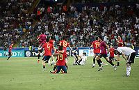 Spain's players celebrate as Germany's players react at the end of the Uefa Under 21 Championship 2019 football final match between Spain and Germany at Udine's Friuli stadium, Italy, June 30, 2019. Spain won 2-1.<br /> UPDATE IMAGES PRESS/Isabella Bonotto