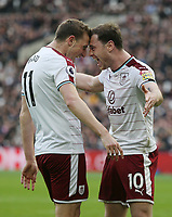 Burnley's Ashley Barnes celebrates scoring his side's first goal with Chris Wood<br /> <br /> Photographer Rob Newell/CameraSport<br /> <br /> The Premier League - West Ham United v Burnley - Saturday 10th March 2018 - London Stadium - London<br /> <br /> World Copyright &not;&copy; 2018 CameraSport. All rights reserved. 43 Linden Ave. Countesthorpe. Leicester. England. LE8 5PG - Tel: +44 (0) 116 277 4147 - admin@camerasport.com - www.camerasport.com