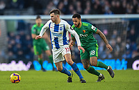 Brighton & Hove Albion's Pascal Gross (left) under pressure from Watford's Andre Gray (right) <br /> <br /> Photographer David Horton/CameraSport<br /> <br /> The Premier League - Brighton and Hove Albion v Watford - Saturday 2nd February 2019 - The Amex Stadium - Brighton<br /> <br /> World Copyright © 2019 CameraSport. All rights reserved. 43 Linden Ave. Countesthorpe. Leicester. England. LE8 5PG - Tel: +44 (0) 116 277 4147 - admin@camerasport.com - www.camerasport.com