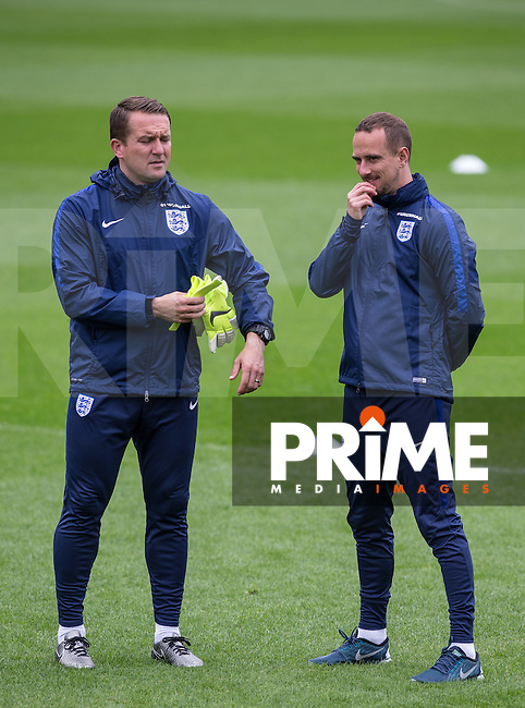 England Manager Mark Sampson with Goalkeeping Coach Lee Kendall during the Open Training session of  England Women ahead of the EURO 2017 Qualifier against Serbia at Adams Park, High Wycombe, England on 3 June 2016. Photo by Andy Rowland.
