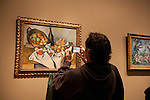 A man taking a picture of a painting with his cell phone at the Art Institute of Chicago, Chicago, IL