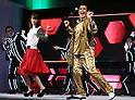 January 18, 2017, Tokyo, Japan - Japanese singer-songwriter Pikotaro (R) and Japanese actress Mirei Kiritani perform dancing of Pikotaro's mega hit song PPAP for a promotion of Japanese mobile communication service Y!mobile, a subsidiary of Japanese telecom giant Softbank in Tokyo on Wednesday, January 18, 2017. Pikotaro announced he would have a concert at Tokyo's Budokan Hall in March.   (Photo by Yoshio Tsunoda/AFLO) LWX -ytd