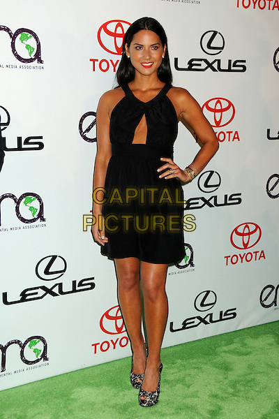 OLIVIA MUNN .at The 2010 Environmental Media Association Awards held at Sky Bar, Warner Bros Studios, Burbank, California, USA, October 16th 2010. .emas ema full length black dress cut out lace peep toe platform shoes hand on hip .CAP/ADM/BP.©Byron Purvis/AdMedia/Capital Pictures.