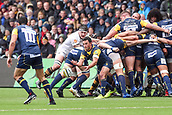10th September 2017, Sixways Stadium, Worcester, England; Aviva Premiership Rugby, Worcester Warriors versus Wasps; Jonny Arr of Worcester Warriors feeds the ball from the scrum