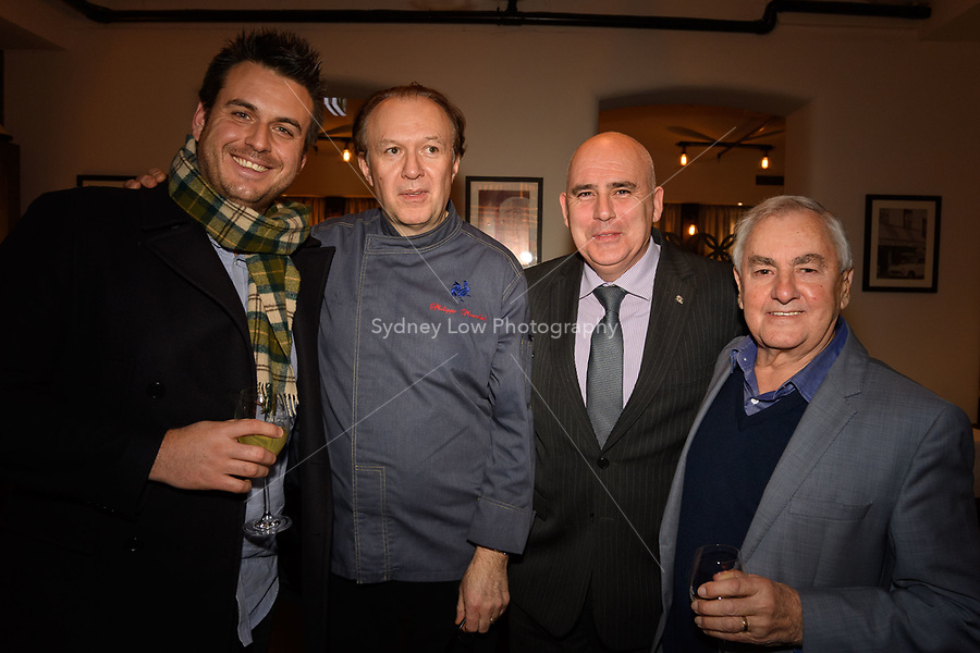 Melbourne, June 26, 2018 - Mark Calabro from Ordermate, Philippe Mouchel, Tom Milligan and Ted Bones from Clover Valley Fine Foods at a celebration event for Bocuse d'Or Australia team and their sponsors and supporters at Philippe Restaurant in Melbourne, Australia. Photo Sydney Low.