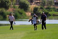 Miguel Angel Jimenez (ESP)  and Darren Clarke (NIR) on the third day of the DUBAI WORLD CHAMPIONSHIP presented by DP World, Jumeirah Golf Estates, Dubai, United Arab Emirates.Picture Fran Caffrey www.golffile.ie