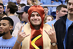 CHAPEL HILL, NC - DECEMBER 30: A UNC fan dressed as a hotdog in a bun. The University of North Carolina Tar Heels hosted the Wake Forest University Demon Deacons on December 30, 2017 at Dean E. Smith Center in Chapel Hill, NC in a Division I men's college basketball game. UNC won the game 73-69.