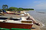 Boats and fishing canoes tropical beach at Pasikudah Bay, Eastern Province, Sri Lanka, Asia