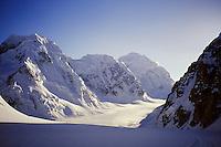The northwest fork of the Tokositna Glacier and Mount Hunter, Alaska Range.