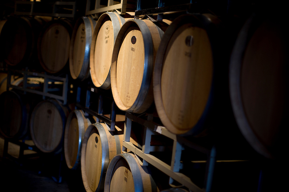 Wine barrels sit along a corridor during Oliver Winery's Harvest Wine Festival on Saturday, Sept.. 25, 2014. (Photo by James Brosher)