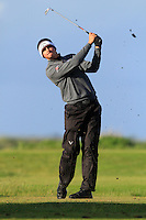 Christian Bezuidenhout (South Africa) on the 12th tee during Round 3 of The Irish Amateur Open Championship in The Royal Dublin Golf Club on Saturday 10th May 2014.<br /> Picture:  Thos Caffrey / www.golffile.ie