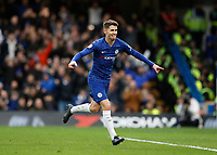 11th January 2020; Stamford Bridge, London, England; English Premier League Football, Chelsea versus Burnley; Jorginho of Chelsea celebrates after scoring his sides 1st goal in the 28th minute from a penalty to make it 1-0 - Strictly Editorial Use Only. No use with unauthorized audio, video, data, fixture lists, club/league logos or 'live' services. Online in-match use limited to 120 images, no video emulation. No use in betting, games or single club/league/player publications