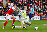 Accrington Stanley's Connor Ripley is fouled by Fleetwood Town's Chris Long<br /> <br /> Photographer Alex Dodd/CameraSport<br /> <br /> The EFL Sky Bet League One - Fleetwood Town v Accrington Stanley - Saturday 15th September 2018  - Highbury Stadium - Fleetwood<br /> <br /> World Copyright &copy; 2018 CameraSport. All rights reserved. 43 Linden Ave. Countesthorpe. Leicester. England. LE8 5PG - Tel: +44 (0) 116 277 4147 - admin@camerasport.com - www.camerasport.com