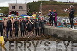 Swimers pictured before the start of the inaugural Ballyheigue swim which went from the slip at Kerryhead to Ballyheigue Beach on Tuesday night.