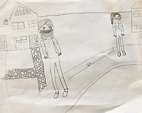 Pencil drawing of friends in masks and physically distancing by Gianna LaBella Grade 4, Yarmouth, ME, USA