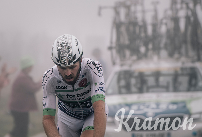 Lanterne Rouge Daniel McLay (GBR/Fortuneo-Vital Concept) crossing the top of the Port de Bal&egrave;s (HC/1755m/11.7km/7.7%) as the last man in the race.<br /> <br /> 104th Tour de France 2017<br /> Stage 12 - Pau &rsaquo; Peyragudes (214km)