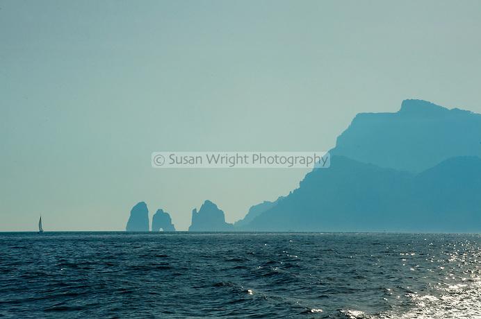 Sailing off Capri Island, Italy Silhouette Capri, Italy