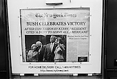 Cocoa Beach, Florida.USA.November 4, 2004..Newspaper stands display the historic win of Bush on the front page.