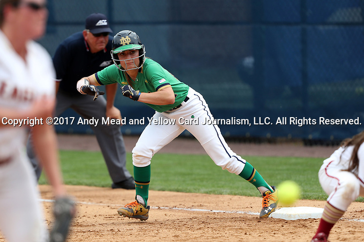 CHAPEL HILL, NC - MAY 11: Notre Dame's Katie Marino waits on first base. The #4 Boston College Eagles played the #5 University of Notre Dame Fighting Irish on May 11, 2017, at Anderson Softball Stadium in Chapel Hill, NC in a 2017 Atlantic Coast Conference Tournament Quarterfinal Softball game. Notre Dame won the game 9-5 in eight innings.