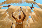 A woman stands beneath thousands of noodles hanging out to dry.  The factory in which the food is stored is capable of producing a staggering two tonnes of the noodles each day. <br /> <br /> Rice and wheat flour are combined with hot water before being poured into a machine which then turns the mixture into the long thin threads. Each noodle thread is at least 6ft long and they take almost two days to dry in Dupchanchia Upazila, Bangladesh.  SEE OUR COPY FOR DETAILS.<br /> <br /> Please byline: Abdul Momin/Solent News<br /> <br /> © Abdul Momin/Solent News & Photo Agency<br /> UK +44 (0) 2380 458800