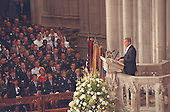 During the newly proclaimed National Day of Prayer and Remembrance, United States President George W. Bush addresses the congregation at the National Cathedral in Washington, D.C., Friday, September 14, 2001..Mandatory Credit: Moreen Ishikawa - White House via CNP.