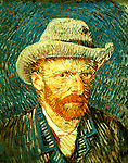 Netherlands: Amsterdam, Vincent van Gogh Museum, Vincent van Gogh (1853-1890) self portrait in a grey felt hat, 1887. Photo dumuse101 .Photo copyright Lee Foster, 510/549-2202, lee@fostertravel.com, www.fostertravel.com