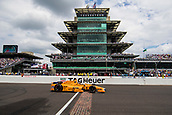 May 28th Indianapolis Speedway, Indiana, USA;  Fernando Alonso, driver of the #29 McLaren-Honda-Andretti Honda, drives across the yard of bricks in in front of The Panasonic Pagoda during the running of the 101st Indianapolis 500 on May 28th, 2017 at the Indianapolis Motor Speedway in Indianapolis, IN.