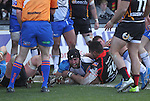 Connacht flanker John Muldoon dives over to score in the corner.<br /> RaboPro 12<br /> Newport Gwent Dragons v Connacht<br /> Rodney Parade<br /> 23.03.14<br /> <br /> ©Steve Pope-SPORTINGWALES